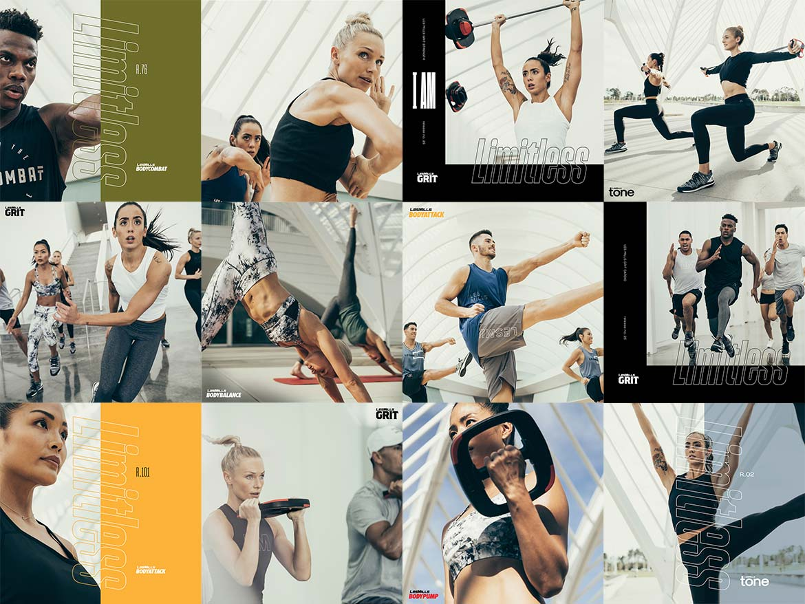 Alle Les Mills-Workouts in einer Übersichts-Collage. Fitness in Münster, Fitnessstudio